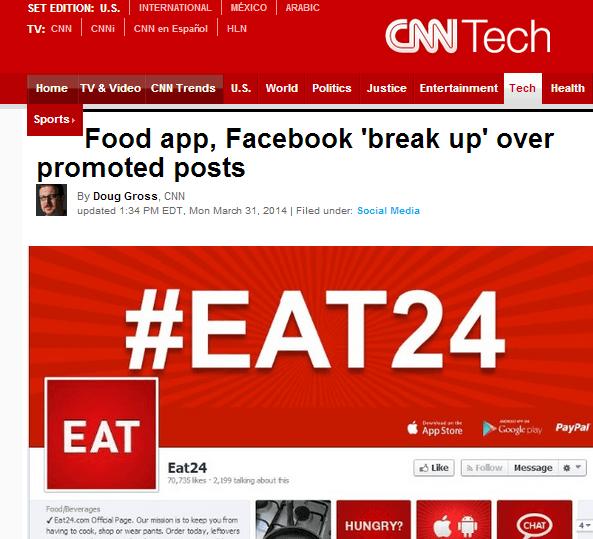Lo screenshot della news riguardante al breakup di Eat24 da Facebook sul sito della CNN