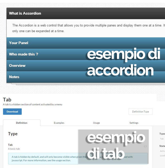 Esempi di elementi di design web accordion e tab