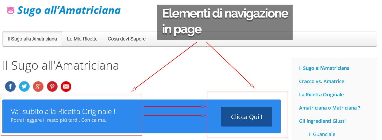 Esempio di elementi di navigazione in page