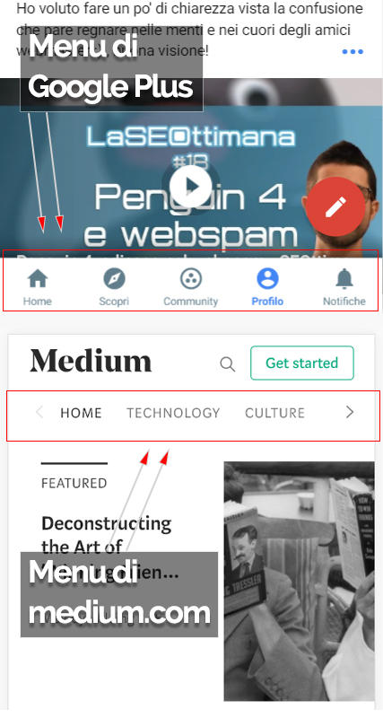 Esempi di menu mobile performanti da Google Plus e Medium