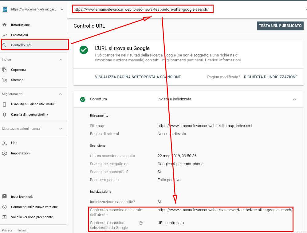 Screenshot che mostra come controllare l'url canonico selezionato da Google tramite la Search Console