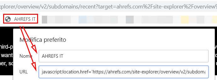 Screenshot di un bookmarklet correttamente inserito nella barra dei preferiti di Chrome