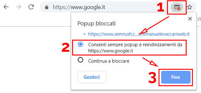 Screenshot che mostra come sbloccare i popup per i bookmarklet multi tab