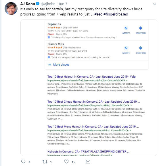 """Screenshot di un esempio positivo di """"site diversity"""" postato su Twitter da AJ Kohn"""