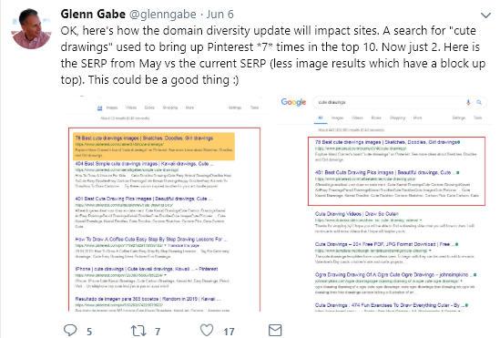 """Screenshot di un esempio positivo di """"site diversity"""" postato su Twitter da Glenn Gabe"""