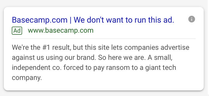 Screenshot del copy di Basecamp su Google Ads per le query brand