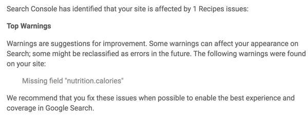 Screenshot dell'alert sul dato strutturato delle calorie in Search Console